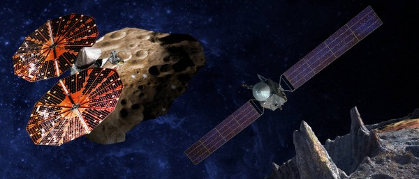 An artist's conception of the Lucy spacecraft flying by the Trojan Eurybates – one of the six diverse and scientifically important Trojans to be studied. (SwRI and SSL/Peter Rubin)