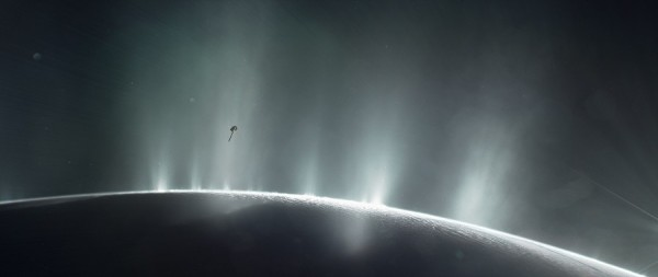 This illustration shows Cassini diving through the Enceladus plume in 2015. (NASA/JPL-Caltech)