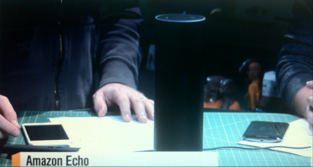 Amazon's Echo is a cylindrical speaker with a microphone. (YouTube)
