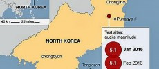 Sites of North Korea's nuclear bomb tests.
