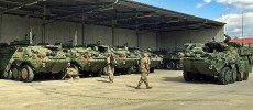 U.S. Army Stryker IFVs in Germany garbed in Barracuda MCS.