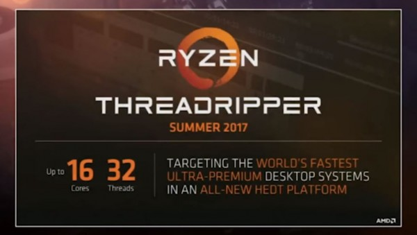 AMD displays the initial specs of their AMD Ryzen Threadripper CPU.