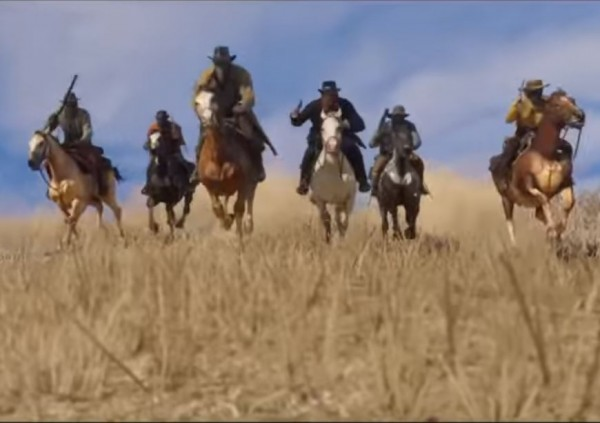 "A portion of ""Red Dead Redemption 2"" trailer is being shown."