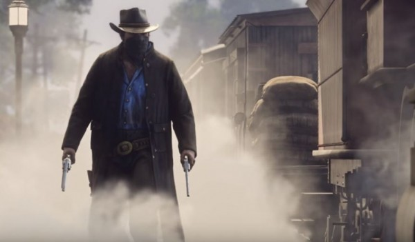 An alleged 'Red Dead Redemption 2' protagonist appears beside a train.