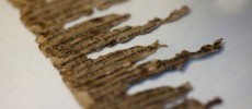 A detail of fragments of the 2000-year-old Dead Sea scrolls at a laboratory in Jerusalem, Israel.
