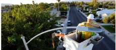 A field electrician replaces a streetlight with new LED fixtures  in Las Vegas, Nevada.