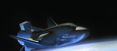 Rendering of SNC's Dream Chaser Spacecraft and Cargo Module in orbit.