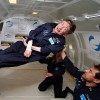 Noted physicist Stephen Hawking (center) enjoys zero gravity during a flight aboard a modified Boeing 727 aircraft owned by Zero Gravity Corp. (Jim Campbell/Aero-News Network)